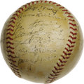 Autographs:Baseballs, 1942 New York Yankees Team Signed Baseball. Another Championshipfor the Bronx! Twenty-seven signatures appear on this she...