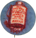 """Political:Pinback Buttons (1896-present), William Jennings Bryan: A Popular 1908 1¼"""" Button Rarity. Pictures the bottom falling out of the Republican """"Full dinner pai..."""