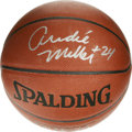 Basketball Collectibles:Balls, Andre Miller Single Signed Basketball. Spalding basketball adornedwith a 10/10 silver sharpie example of point guard Andre...