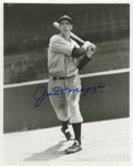 Autographs:Photos, Joe DiMaggio Signed Photograph. Classic image of Joltin' Joe in abatting pose is signed by him in 10/10 blue sharpie. Pho...