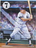 Autographs:Others, Mickey Mantle Signed Poster. Great artistic image of the Mick atbat offers a massive and perfect blue sharpie signature, m...