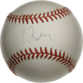 Autographs:Baseballs, Greg Maddux Single Signed Baseball. The future Hall of Fame pitcherapplied his 9/10 blue ink signature to the sweet spot o...