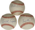 Autographs:Baseballs, Hall of Famers Single Signed Baseballs Lot of 3. Trio of ONL ballsfeature fine sweet spot signatures from Frank Robinson, O...