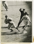 Baseball Collectibles:Photos, 1937 Lou Gehrig Service Photograph. Classic action shot captures the great Lou Gehrig as he completes a first base putout a...