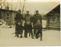 """Baseball Collectibles:Photos, Vintage Babe Ruth Hunting Photograph. Tremendous sepia-toned 4x5"""" vintage print depicts six happy hunters posed in the snow..."""