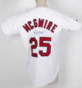Baseball Collectibles:Uniforms, Mark McGwire Signed Jersey. Big Mac signs a fine replica of his home Cardinals gamer. Small stain intersects with autograp...