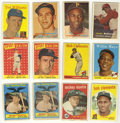 Baseball Cards:Lots, 1957-1959 Topps Baseball Group Lot of 55. Star-studded groupincludes 1957 Topps #35 Frank Robinson, 76 Roberto Clemente, 25...