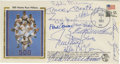 Autographs:Others, 1982 500 Home Run Club First Day Cover Signed by 12. Postmarked theday that sluggers Frank Robinson and Hank Aaron were in...
