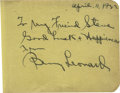 Boxing Collectibles:Autographs, 1923 Benny Leonard Signed Album Page. Widely regarded as one of thefinest lightweight pugilists who ever entered the ring,...