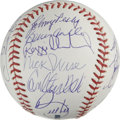 Autographs:Baseballs, 1975 Boston Red Sox Team Signed Baseball. The 1975 AL Champs arerepresented here with 19 pristine signatures that appear o...