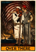 "Movie Posters:War, World War I Propaganda (U.S. Navy, 1917). Recruitment Poster (40.5""X 59"") ""Over There,"" Albert Sterner Artwork.. ..."