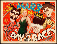 """A Day at the Races (MGM, 1937). Title Lobby Card (11"""" X 14"""") Al Hirschfeld Artwork"""