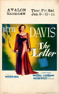 """The Letter (Warner Brothers, 1940). Very Fine-. Window Card (14"""" X 22""""). Film Noir"""