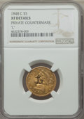 """Counterstamps, 1848-C Half Eagle -- Private Countermark """"L"""" -- NGC Details. XF...."""