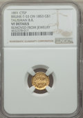 Counterstamps, 1853 Gold Dollar -- Talisman B R 1891 Counterstamp, Removed From Jewelry -- NGC Details. VF. Brunk-T-53....