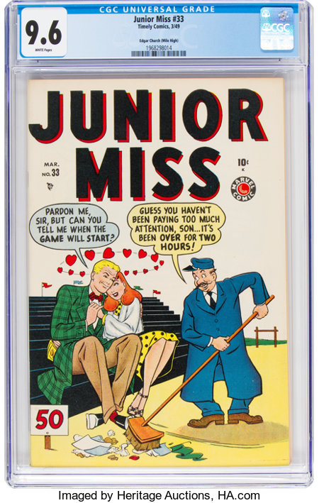 Junior Miss #33 Mile High pedigree (Timely, 1949) CGC NM+ 9.6 White pages....