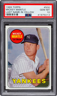 1969 Topps Mickey Mantle (Yellow Letters) #500 PSA Gem Mint 10