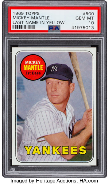 1969 Topps Mickey Mantle Yellow Letters 500 Psa Gem Mint