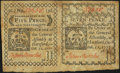 Colonial Notes:Connecticut, Connecticut October 11, 1777 5d/7d Uncut Horizontal Pair Extremely Fine-About New.. ...