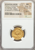 Ancients:Byzantine, Ancients: Tiberius II Constantine (AD 578-582). AV solidus (21mm,4.35 gm, 6h). NGC MS 5/5 - 3/5, graffito, clipped....