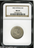 Coins of Hawaii: , 1883 25C Hawaii Quarter MS64 NGC. A lightly toned and highly lustrous example of this popular type coin that is rarely seen...