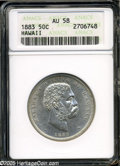 Coins of Hawaii: , 1883 50C Hawaii Half Dollar AU58 ANACS. A brilliant example withunbroken cartwheel luster on the reverse, and extensive br...