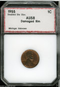 Additional Certified Coins: , 1955/55 1C Doubled Die AU58 Damaged Rim PCI (MS60 Rim Damage). This doubled die reveals considerable mint red interspersed ...