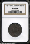 1781 TOKEN North American Token VF35 Brown NGC. ...(PCGS# 589)