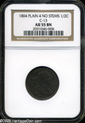 1804 1/2 C Plain 4, No Stems AU55 Brown NGC.C-13....(PCGS# 1063)