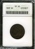 "1809 1/2 C XF40 ANACS. The current Coin Dealer Newsletter (Greysheet) wholesale ""bid"" price is $75.00....(PCGS..."