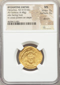 Ancients:Byzantine, Ancients: Heraclius (AD 610-641). AV solidus (23mm, 4.48 gm, 7h).NGC MS 3/5 - 4/5, die shift....
