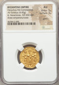 Ancients:Byzantine, Ancients: Heraclius (AD 610-641), with Heraclius Constantine andHeraclonas. AV solidus (21mm, 4.45 gm, 7h). NGC AU 5/5 - 3/5,graffito....
