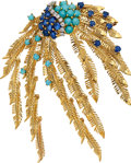 Estate Jewelry:Brooches - Pins, Diamond, Sapphire, Turquoise, Gold Brooch, Cellino. ...
