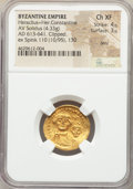 Ancients:Byzantine, Ancients: Heraclius (AD 610-641) with Heraclius Constantine. AVsolidus (20mm, 4.33 gm, 7h).NGC Choice XF 4/5 - 3/5, bent,clipped....