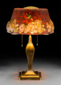 Art Glass:Other , Pairpoint Reverse Painted Glass and Bronzed PuffyHummingbird Lamp. Circa 1915. Shade stenciled TheParipoint ...