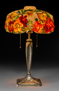 Art Glass:Other , Pairpoint Gilt Brass and Reverse Painted Glass Puffy Lamp. Circa1920. Base stamped PAIRPOINT MF'G CO., (P-diamond),B...