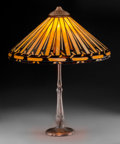 Art Glass:Other , Handel Leaded Glass and Bronzed Table Lamp. Circa 1915. Basestamped HANDEL. Ht. 26-1/2 x Di. 19-3/4 i...