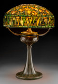 Art Glass:Tiffany , Tiffany Studios Leaded Glass and Bronze Tulip Table Lamp onTyler Base . Circa 1910. Shade stamped ...