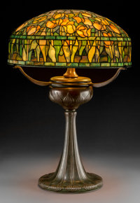 Tiffany Studios Leaded Glass and Bronze Tulip Table Lamp on Tyler