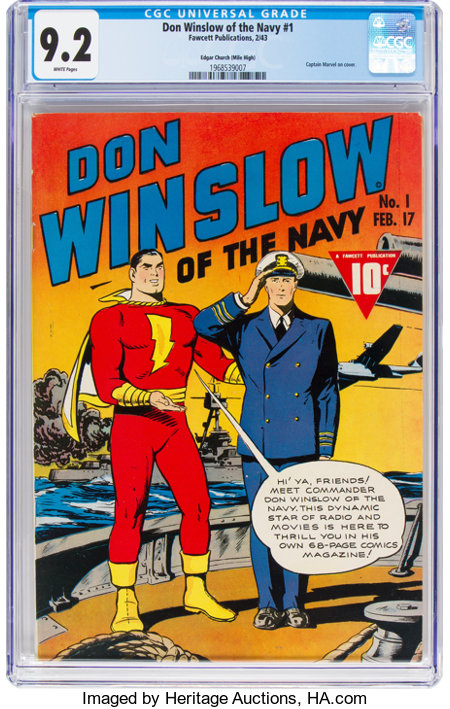 Don Winslow of the Navy #1 Mile High Pedigree (Fawcett Publications, 1943) CGC NM- 9.2 White pages....