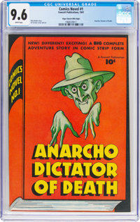 Comics Novel #1 Anarcho Dictator of Death - Mile High Pedigree (Fawcett Publications, 1947) CGC NM+ 9.6 White pages