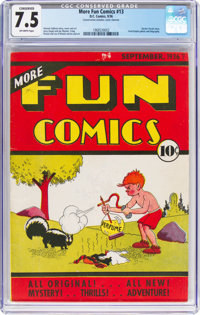 More Fun Comics #13 (DC, 1936) CGC Conserved VF- 7.5 Off-white pages