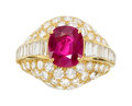 Estate Jewelry:Rings, Burma Ruby, Diamond, Gold Ring. ...