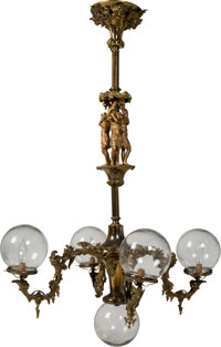 French Beaux Arts Gilt Metal Five-Light Chandelier Circa 1910 Ht. 42 x 24 x 24 in. (overall)