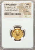 Ancients:Byzantine, Ancients: Justin I (AD 518-527). AV solidus (20mm, 4.21 gm, 7h).NGC Choice AU 3/5 - 3/5, clipped, flan flaw....