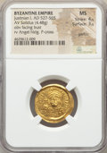 Ancients:Byzantine, Ancients: Justinian I the Great (AD 527-565). AV solidus (21mm,4.48 gm, 6h). NGC MS 4/5 - 3/5, graffito....