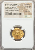 Ancients:Byzantine, Ancients: Constans II Pogonatus (AD 641-668) with Constantine IV,Heraclius and Tiberius. AV solidus (20mm, 4.37 gm, 7h). NGC ChoiceAU ...