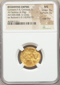 Ancients:Byzantine, Ancients: Constans II Pogonatus (AD 641-668), with Constantine IV.AV solidus (20mm, 4.39 gm, 7h). NGC MS 4/5 - 3/5, edge filed....