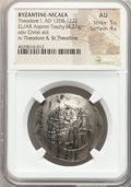 Ancients:Byzantine, Ancients: EMPIRE OF NICAEA. Theodore I Comnenus-Lascaris (AD1208-1222). EL/AR aspron trachy (31mm, 4.27 gm, 5h). NGC AU5/5 - 4/5....