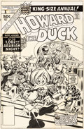 Original Comic Art:Covers, Gene Colan and Tom Palmer Howard the Duck Annual #1 Cover Original Art (Marvel, 1977)....